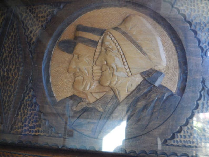 Vintage Belgian carved wooded tray or a piece of wall art