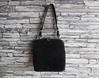 Vintage French black suede  evening bag