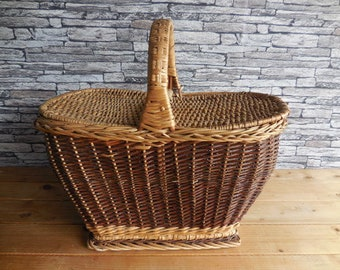 Vintage continental  wicker picnic basket