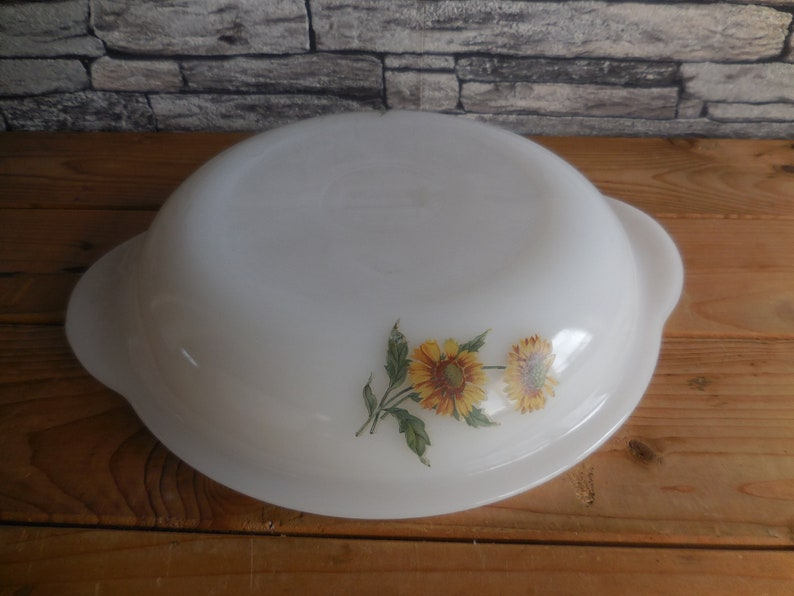 Vintage French Arcopal milk glass casserole dish with lid sunflowers