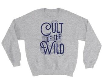 Cult of the Wild Skull Unisex Sweatshirt by Sonny Wong Maroon