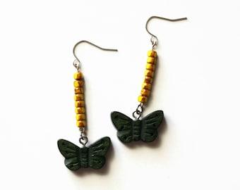 Butterfly Earrings, Green And Yellow Butterfly Dangle Earrings, Spring Jewelry, Woodland Earrings