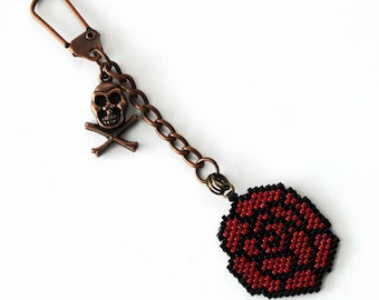 Skull And Rose Beaded Charm, Purse Charm, Charm For Planners, Keychain