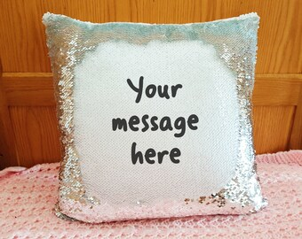 Personalised magic mermaid cushion custom message reveal pillow mother's day cover only surprise text wording gift present hidden message