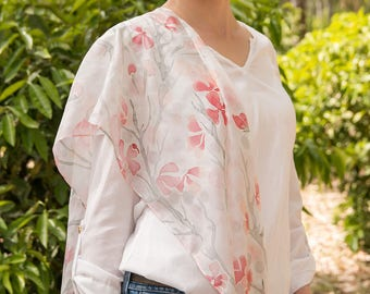 Hand painted white silk scarf with small pink apple flowers, Handpainted habotai silk shawl with flowering apple tree branch, Gift for woman