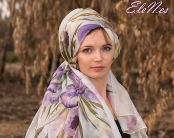 Large hand painted silk scarf with purple iris and olive-green leaves, Handpainted shawl with lilac-violet flowers for woman, Festive wrap
