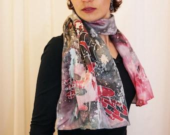 Hand painted silk scarf with rain drops and umbrella - Red and black autumn handpainted silk shawl - Unisex silk accessory - Hot batik shawl