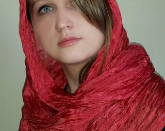 Hand dyed bright red silk scarf  - Large boho style wrap - Crush crimson silk shawl - Unisex silk accessory
