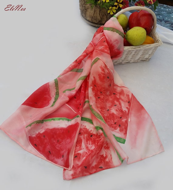 Water Melon Scarf Green Background Shawl Wrap Soft Material fruit gift