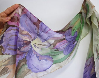 Hand painted silk scarf with purple iris, Silk shawl with large lilac flowers and green olive leaves, Silk accessory for woman