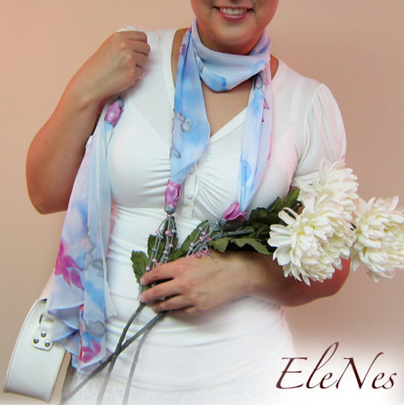 Pink floral design Hand\u0440ainted romantic gift Silk set with flowers from polymer clay Scarf and handbag silk accessory