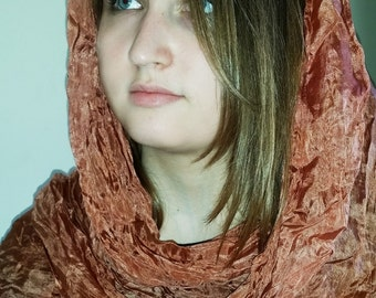 Large boho style ginger silk scarf  - Boho fashion fall accessories - Crush orange brown silk shawl -  Unisex silk accessory