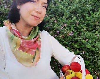 Hand painted silk shawl with bouquet red-orange tulips and green leaves - Small square scarf with bright flowers - Summer silk accessory