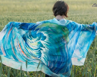 Large hand painted silk scarf with seascape, Delicate blue turquoise shawl with maritime landscape, Lightweight summer wrap with sea wave