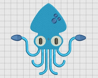 Squid Fill Stitch Embroidery Design in 3x3 4x4 5x5 and 6x6 Sizes