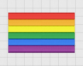 Gay Pride Rainbow Flag Embroidery Design in 2x2 3x3 and 4x4 Sizes