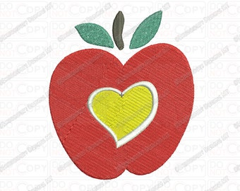 Apple with Heart Embroidery Design in  3x3 4x4 and 5x7 Sizes