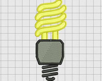 CFL Light Bulb Embroidery Design in 3x3 4x4 5x5 and 6x6 Sizes