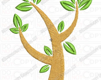 Tree with 3 Leaves  Embroidery Design in 4x4 and 5x7 Sizes