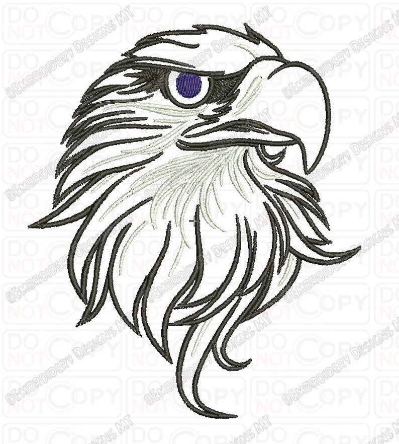 Bald Eagle Head Outline Embroidery Design in 4x4 and 5x7 Sizes