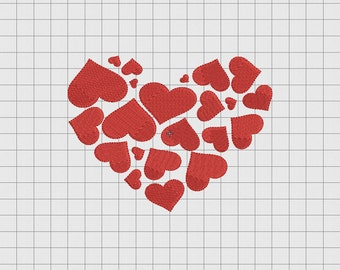 Heart of Hearts Valentine Embroidery Design in 3x3 4x4 5x5 and 6x6 Sizes