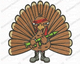 Rambo Thanksgiving Turkey Embroidery Design in 3x3 4x4 and 5x7 Sizes