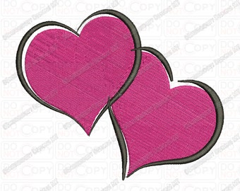 Two Hearts Valentine Embroidery Design in 2x2 3x3 4x4 and 5x7 Sizes