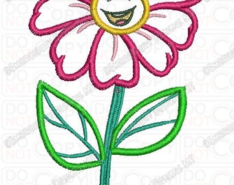 Happy Smiling Flower Applique Embroidery Design in 4x4 and 5x7 Sizes