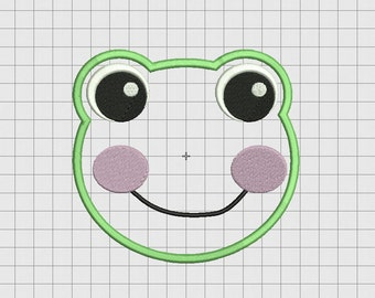Frog Face Applique Embroidery Design in 3x3 4x4 5x5 and 6x6 Sizes