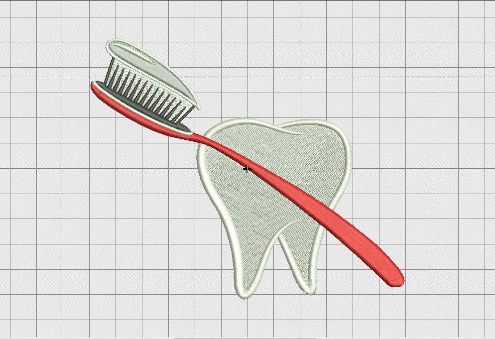 Diente y cepillo de dientes bordado diseño en 3 x 3 4 x 4 5 x | Etsy