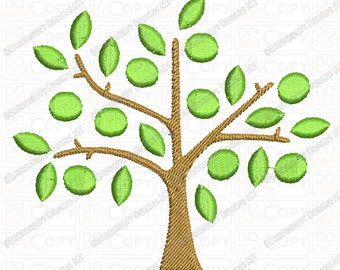 Tree with Satin Leaves Embroidery Design in 4x4 and 5x7 Sizes