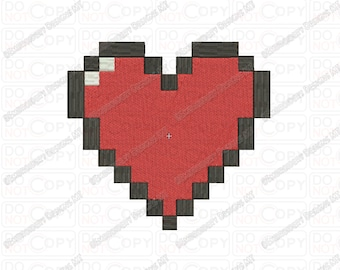 Pixel Heart Embroidery Design in 1x1 2x2 3x3 4x4 and 5x7 Sizes