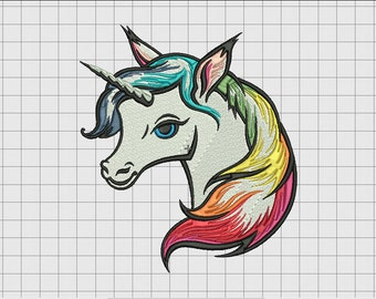 Unicorn Rainbow Mane Embroidery Design in 4x4 5x5 6x6 and 7x7 Sizes