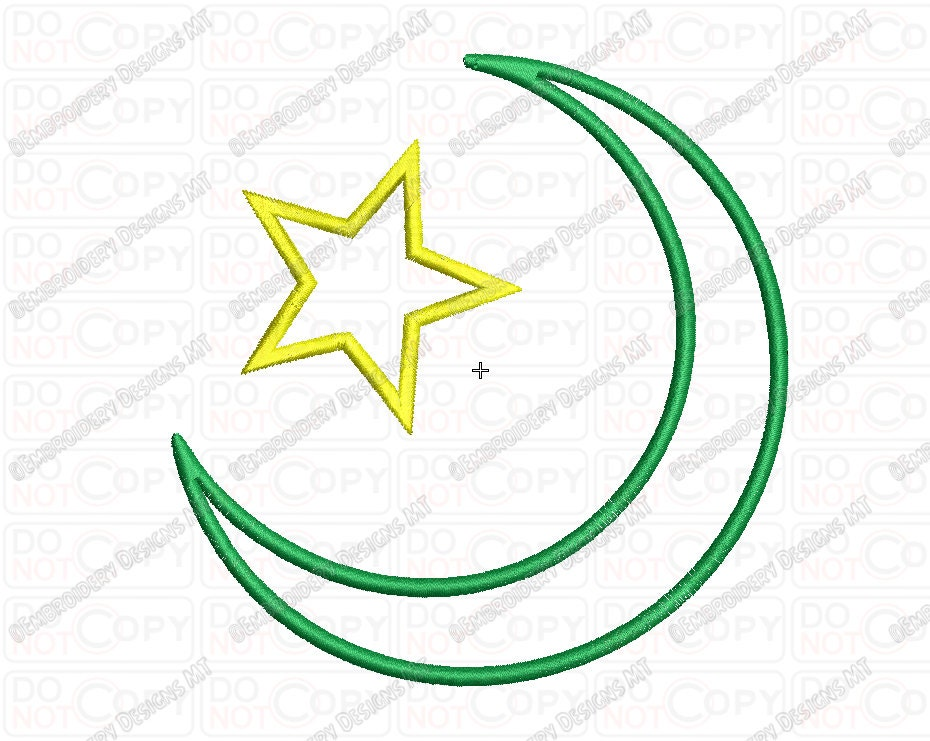 Islam Star And Crescent Religious Symbol Applique Embroidery Etsy