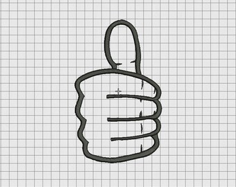 Thumbs Up Hand Applique Embroidery Design in 4x4 5x5 6x6 and 7x7 Sizes
