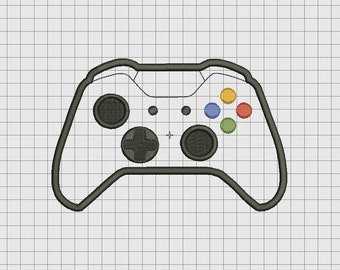 Video Game Controller Microsoft XBox One XBONE Style Applique Embroidery Design in 4x4 and 5x7 Sizes