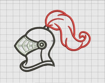 Medieval Knight Helmet Applique Embroidery Design in 4x4 and 5x7 Sizes