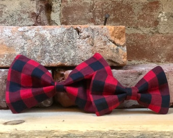 Ref Buffalo Plaid Dog Bow Tie, Removeable Dog Bow Tie