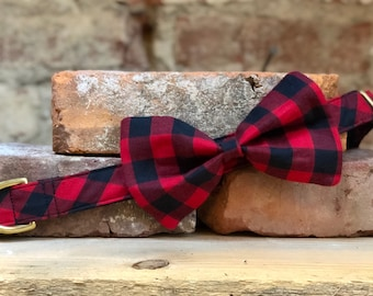 Buffalo Plaid Dog Collar, Red and Black Plaid Bow Tie Collar, Brass Hardware