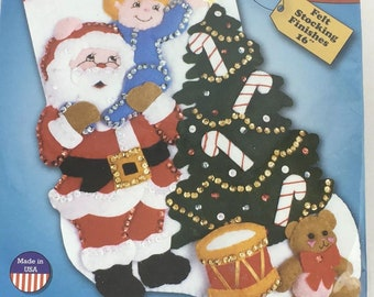 Design Works Reach for the Star Felt Christmas Stocking Kit 5057 Santa Tree New USA Made DIY Santa Christmas Tree