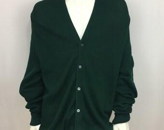 Izod Mens Cardigan Green Sweater Vintage 80s Grandpa Size XL Acrylic Long Sleeve