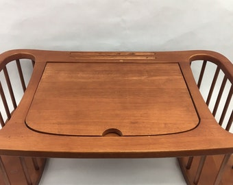 Vintage Wood Laptop Tray Breakfast in Bed Brown Adjustable Book Rest Side Pockets