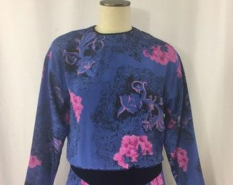 1970s Malia Vintage Hawaiian Maxi Dress Honolulu Womens Sz 12 Blue Pink Floral Tropical Tiki Dress Long Sleeve Polyester Caribbean Cruise
