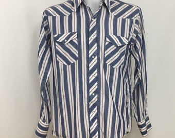 90s Wrangler Western Shirt Pearl Snap Buttons Mens Large Striped Long Sleeve Blue White Red