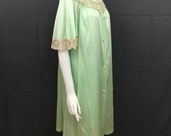 c2469bdc56 Vintage Peignoir Set Medium Lorraine Green Nylon Nightgown Robe 1970s USA  Womens Lingerie Night Gown Set