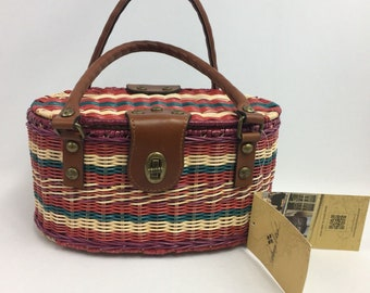 New Wicker Purse Patricia Nash Spring Wicker Majadas Basket Multi Stripe Double Handle Handbag