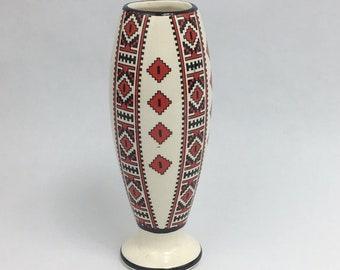 Vintage Ukrainian Art Vase Traditional Red Folk Decor Ceramic 7 Inches High Tribal Print Aztec