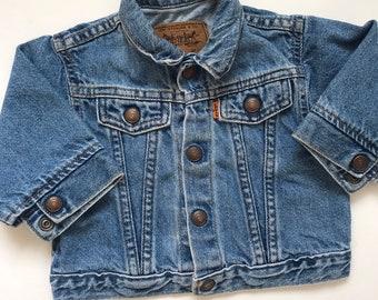 b46d75f4 Vintage levis jean jacket, levis kids trucker jacket, 12 months, kinfolk, vintage  levis, orange tab, made in usa, hippie, baby jean jacket,
