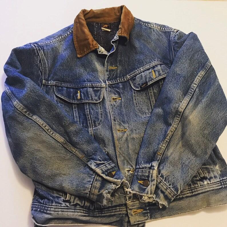 29ecfb18624 Vintage Lee jacket distressed Lee jean jacket storm Rider