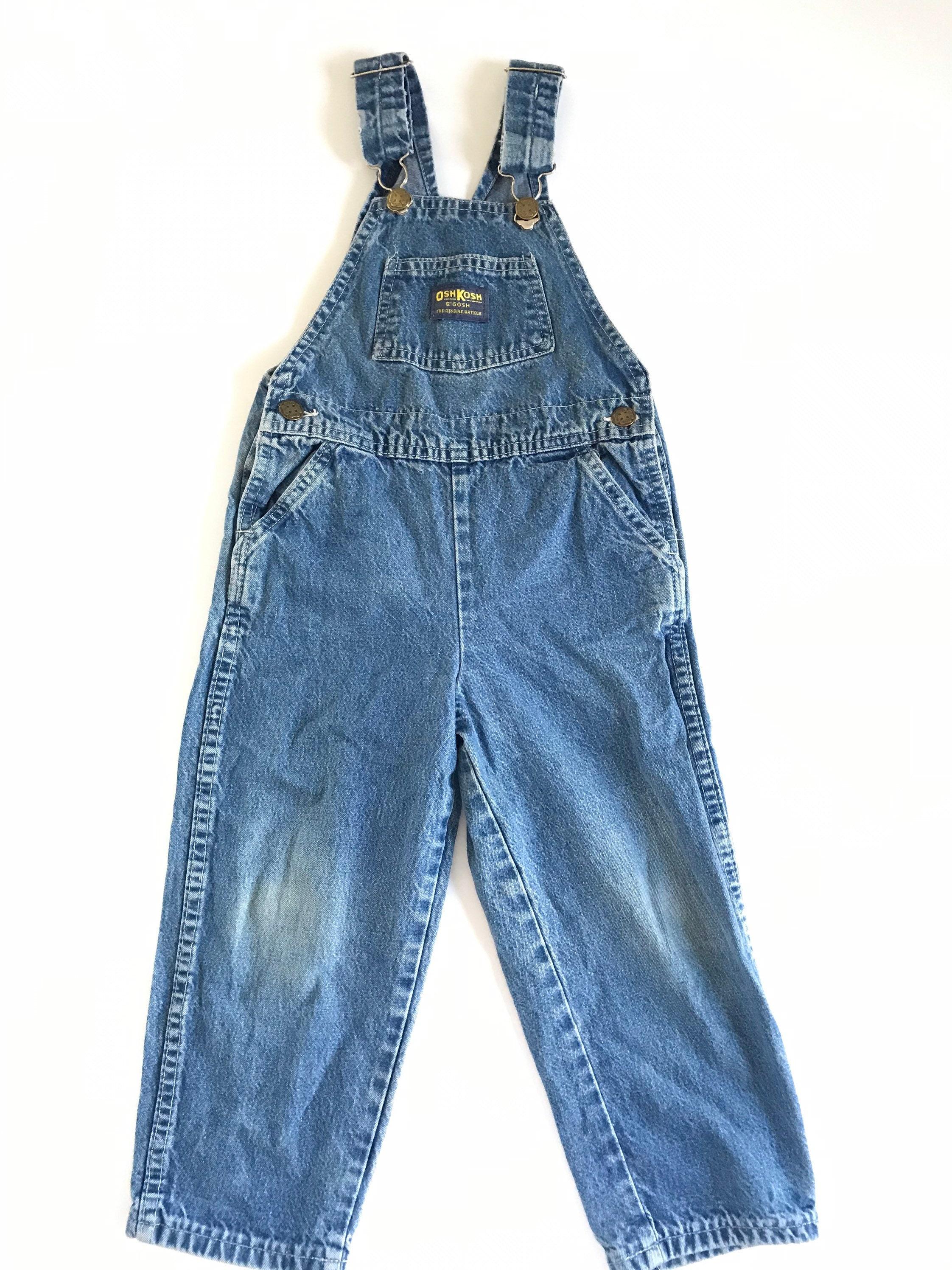 Vintage Overalls & Jumpsuits Vintage Oshkosh Overalls, 4T, Well Worn, Faded, Made in Usa, Osh Kosh Bgosh Adjustable Jean Toddler Denim 1990s, Folk $0.00 AT vintagedancer.com